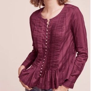 Anthropologie Maeve Gelish Pleated Button Down Top